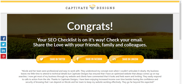 Thank you page example - Captivate Designs, Inc